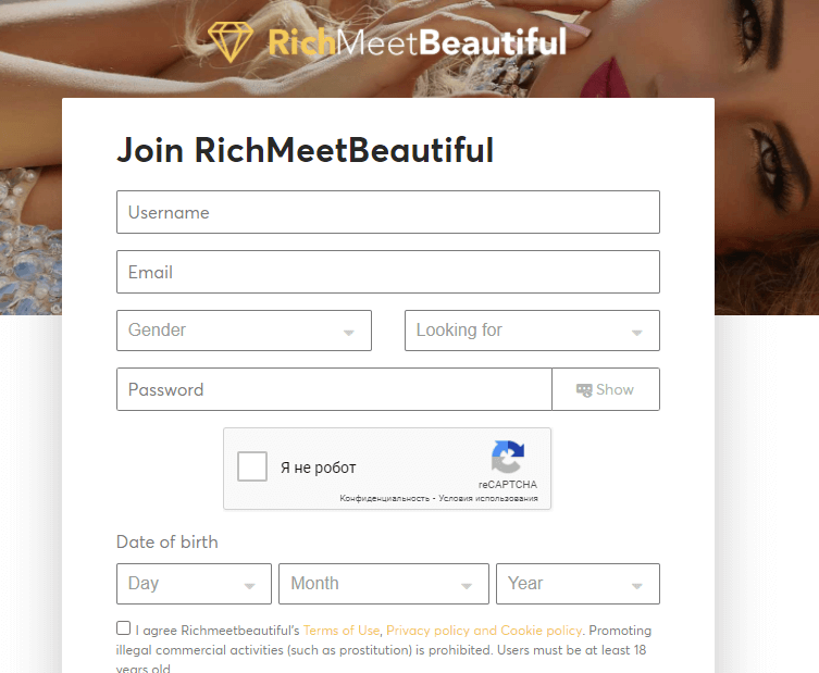 signing up  richmeetbeautiful